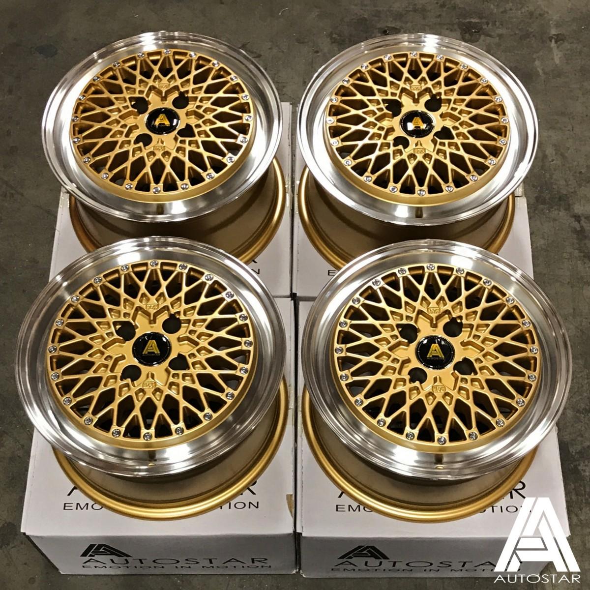 AutoStar Minus 15x7.5 4x108 ET25 Polished with Gold Centre - Set of 4