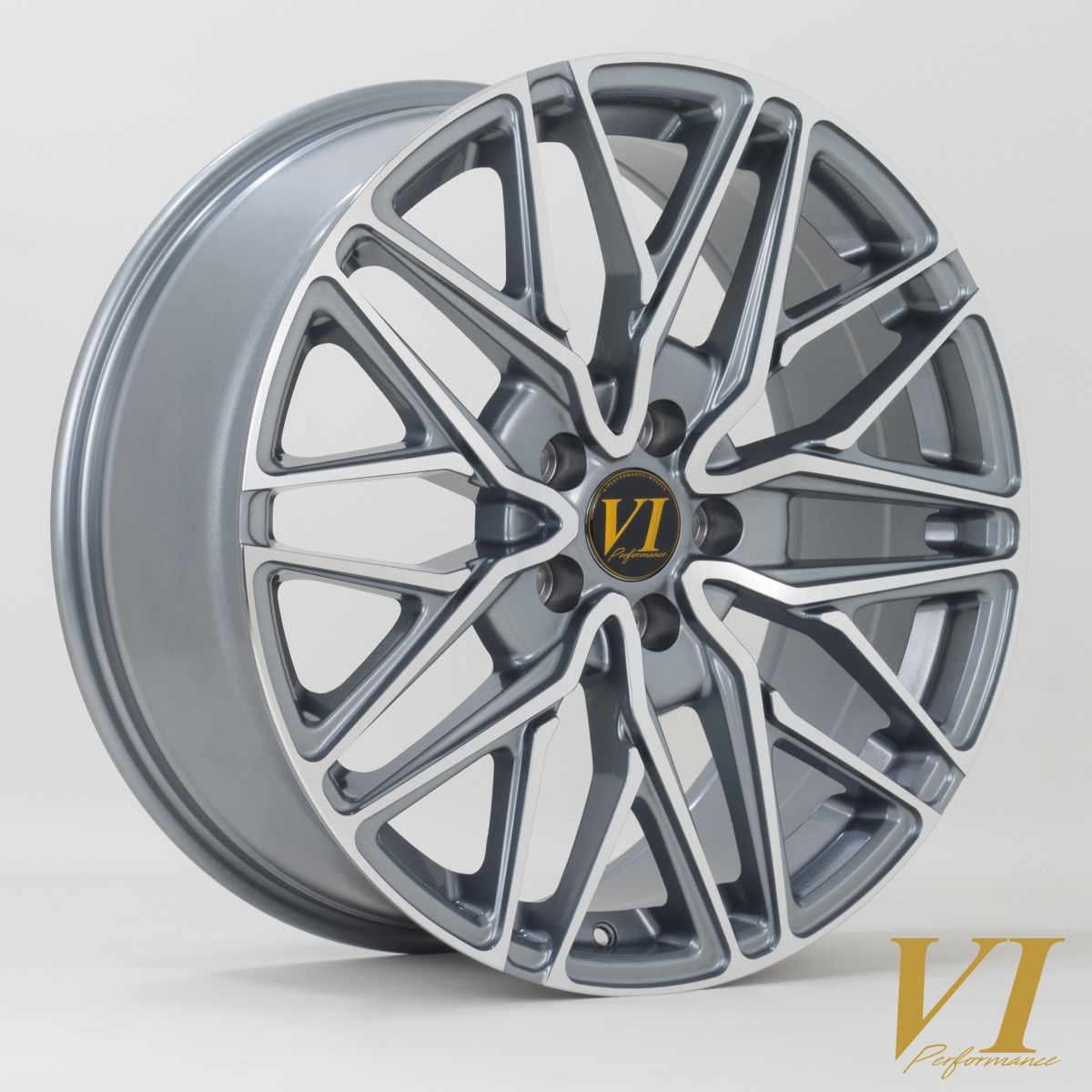 6Performance Loaded 20x8.5 5x120 ET35 Gunmetal with a Polished Face