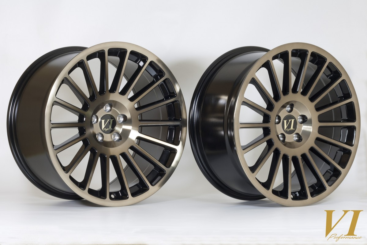 6Performance DTL 18x8.5 & 18x9.5 ET35 Black with Bronze Face - Staggered Set of 4