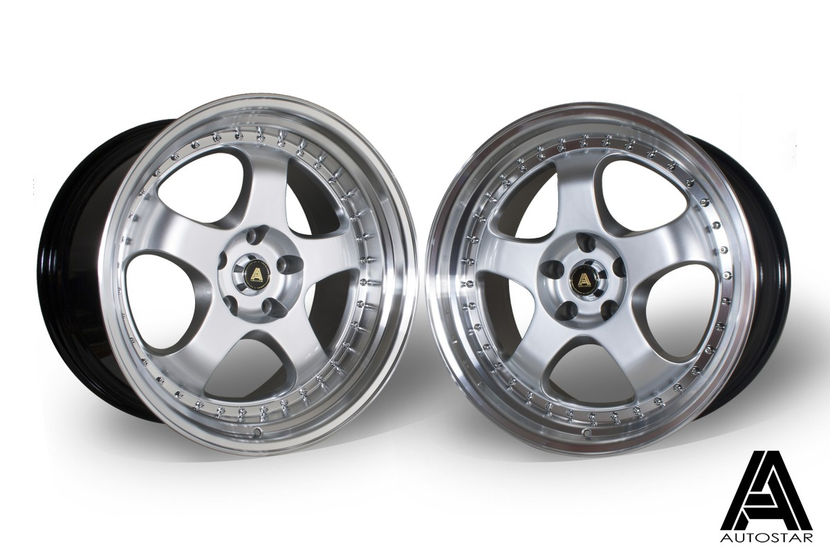 AutoStar GT5 19x9.5 & 19x10.5 5x114.3 ET22 Silver with polished lip - Staggered set of 4