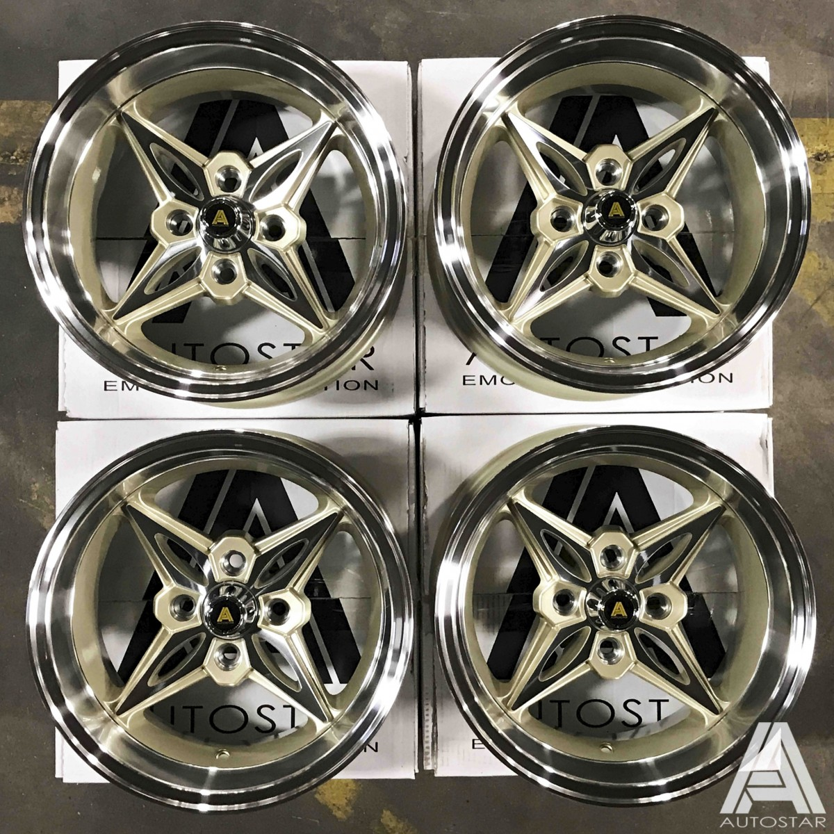 AutoStar Kanji 14x8.0 ET-5 & 14x9.0 ET-13 4x114 Polished Lip with Champagne Gold Centre - Staggered Set of 4