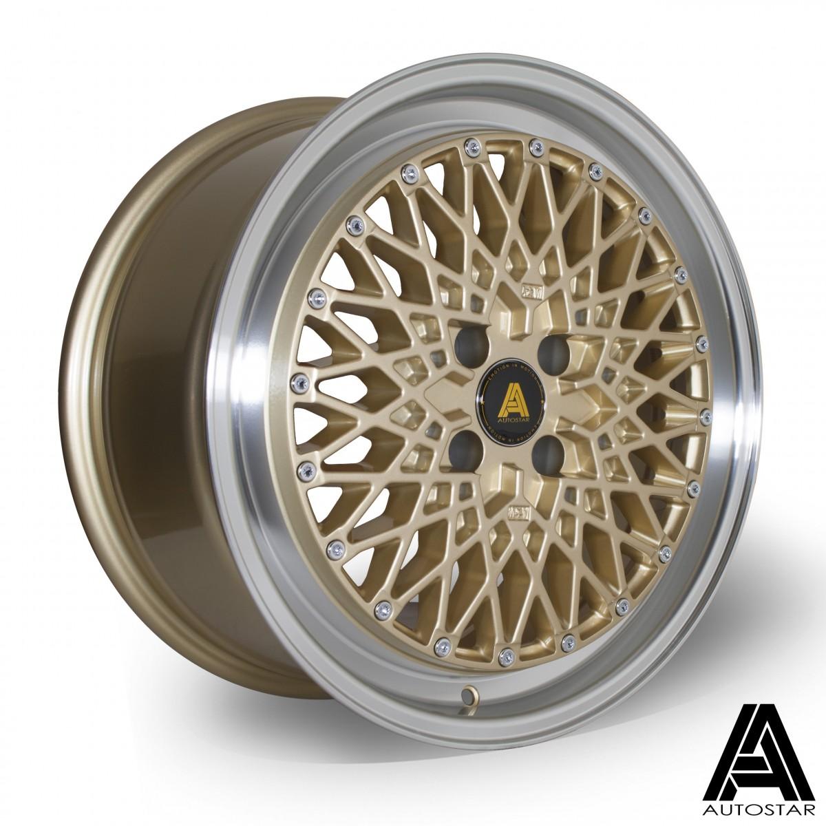 AutoStar Minus 17x8.0 4x100 ET30 Polished with Gold Centre - Set of 4