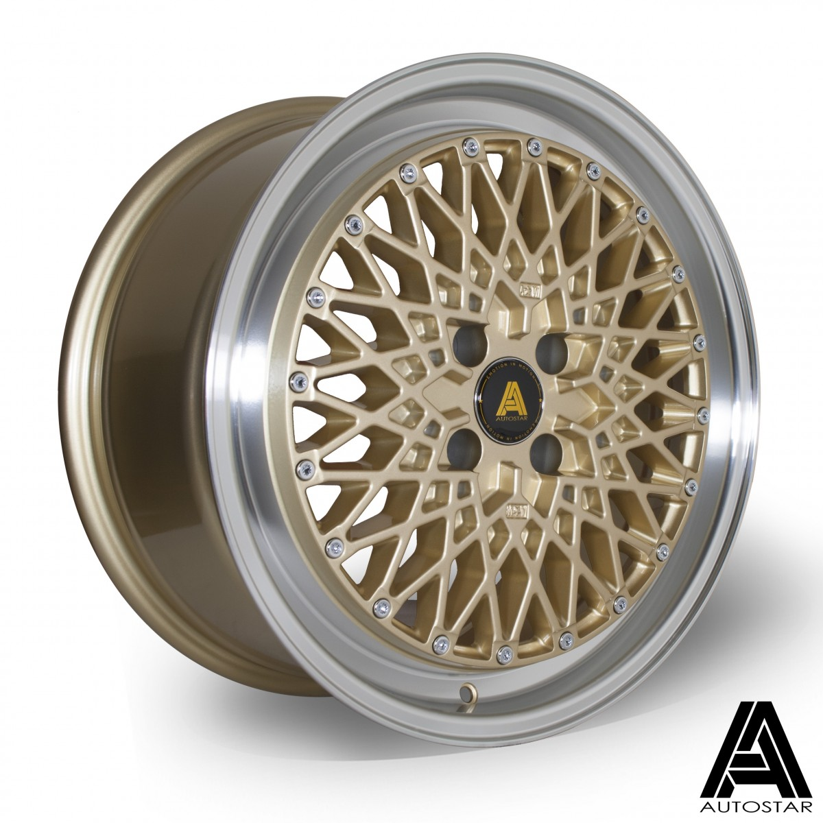 AutoStar Minus 17x8.0 5x112 ET35 Polished with Gold Centre - Set of 4