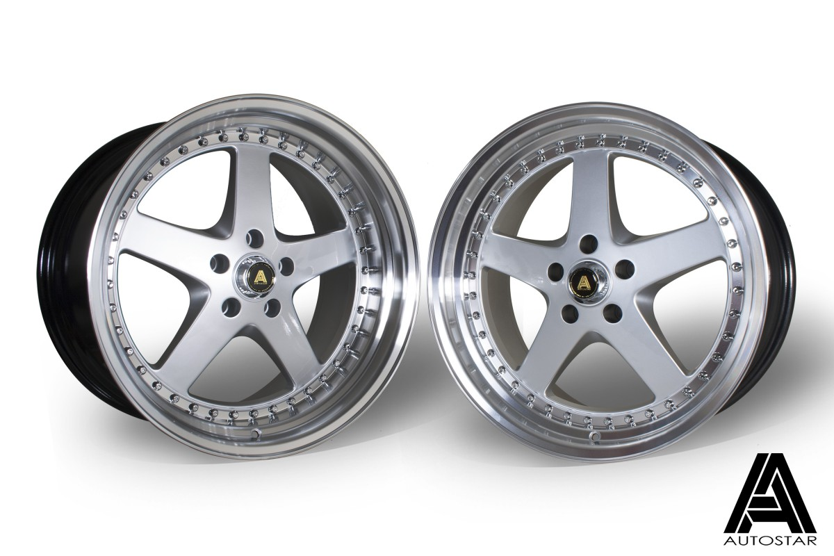AutoStar Omega 19x9.5 & 19x10.5 5x114.3 ET22 Silver with polished lip - Staggered set of 4