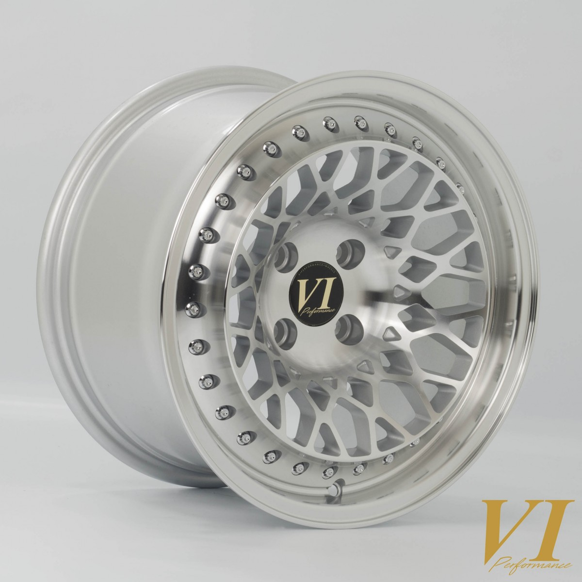 6Performance Infinity 15x8.25 4x100 ET15 Silver with Polished Lip