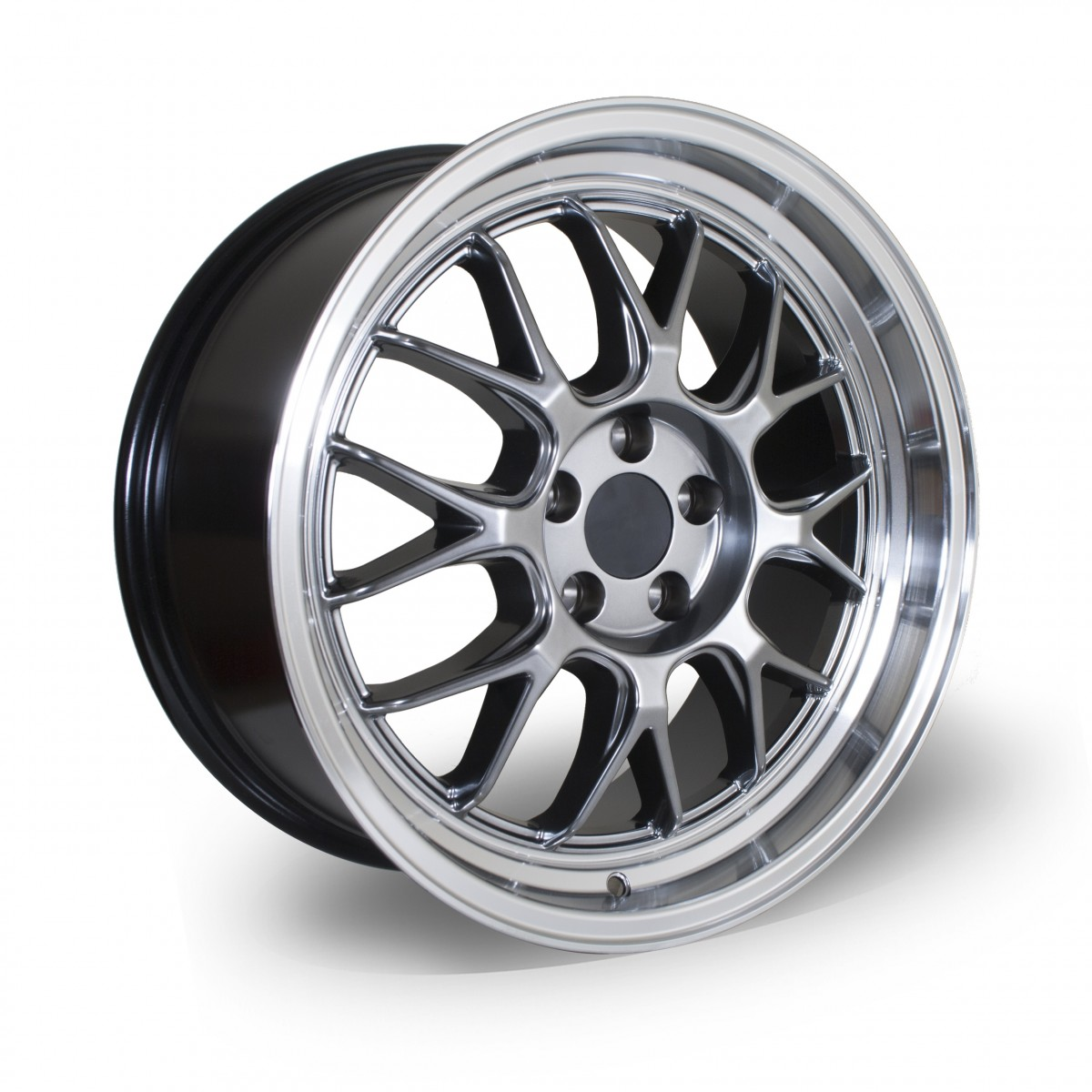 White Label Type M 17x8.0 5x100 ET35 Hyper Black with Polished Lip