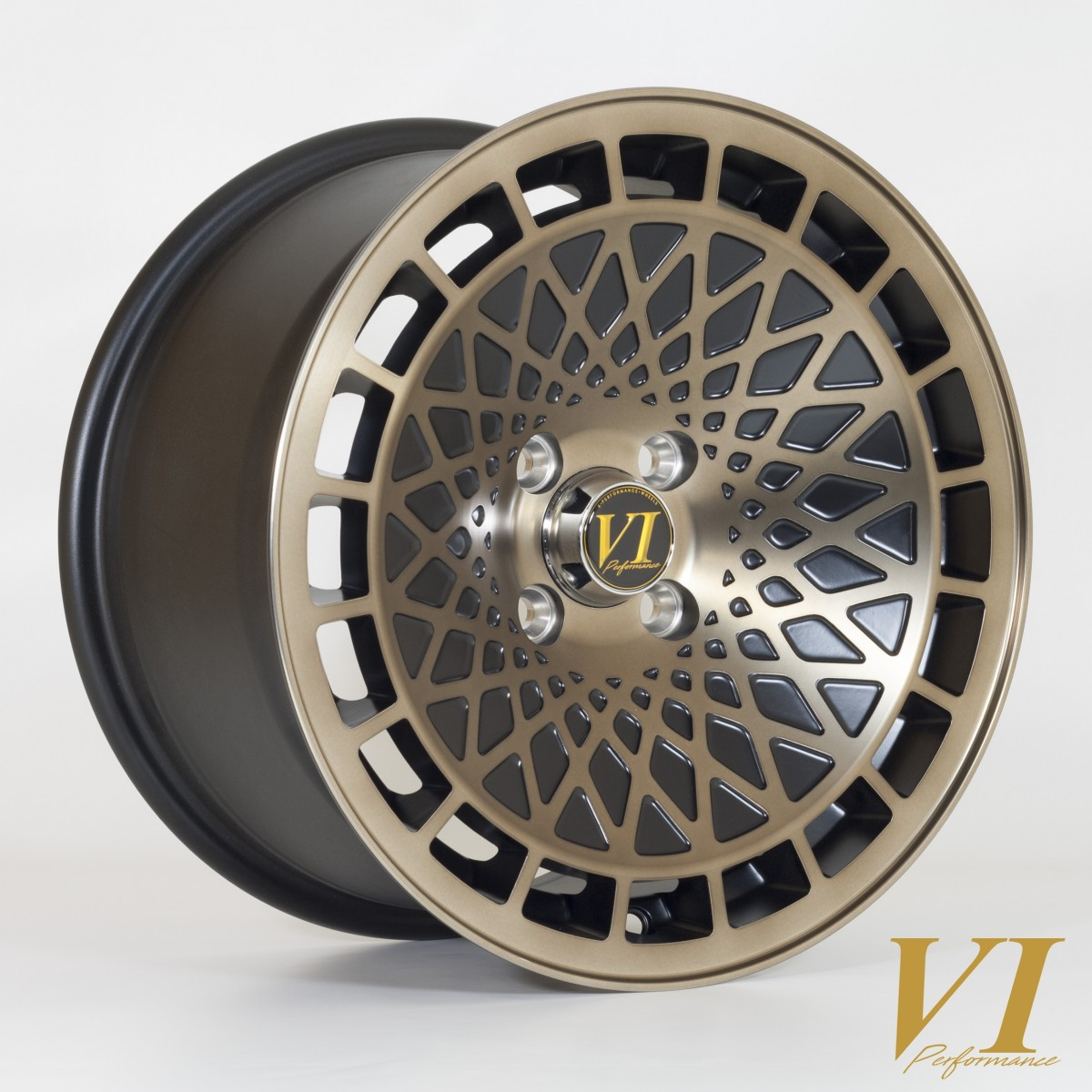 6Performance Type T 15x8.0 ET25 Black with Bronze Face