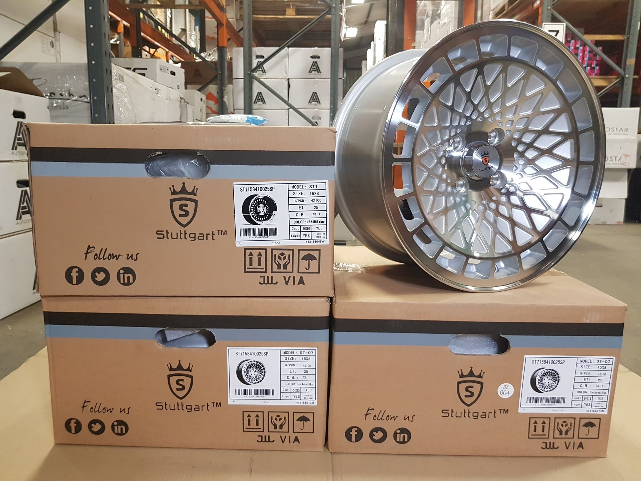 Stuttgart ST7 15x8 4x100 et25 Silver with polished face