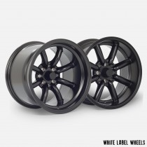 White Label Vintage 15x8.0 ET0 and 15x10.5 ET-32 4x100 & 4x114.3 Flat Black - Staggered Set of 4