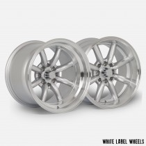 White Label Vintage 15x8.0 ET0 and 15x10.5 ET-32 4x100 & 4x114.3 Silver with Polished Lip - Staggered Set of 4