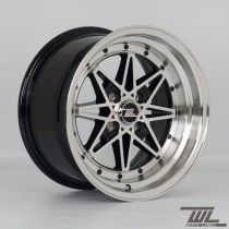 White Label Icon 15x8.0 ET10 with Black with Polished Lip - Set of 4
