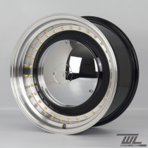 White Label YKW7708 Smoothie 17x7.5 and 17x8.5 5x100 Staggered Wheel Set in Black with Polished Lip and Chrome Hub Cap