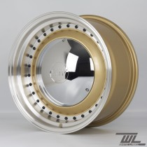 White Label YKW7708 Smoothie 17x7.5 and 17x8.5 5x100 Staggered Wheel Set in Gold with Polished Lip and Chrome Hub Cap