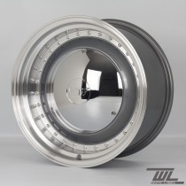 White Label YKW7708 Smoothie 17x7.5 and 17x8.5 5x100 Staggered Wheel Set in Gunmetal with Polished Lip and Chrome Hub Cap