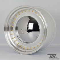 White Label YKW7708 Smoothie 17x7.5 and 17x8.5 5x112 Staggered Wheel Set in White with Polished Lip and Chrome Hub Cap