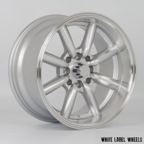 White Label Vintage 15x8.0 ET0  4x100 & 4x114.3 Silver with a Polished Lip - Set of 4