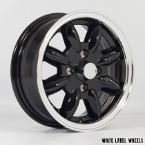 White Label JB 13x5.0 4x101.6 ET20 Black with Polished Lip