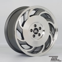 White Label C4 17x7.5 ET35 5x100 Gunmetal with Polished Face - Staggered Set of 4