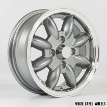 White Label JB 13x5.0 4x101.6 ET20 Gunmetal Grey with Polished Lip