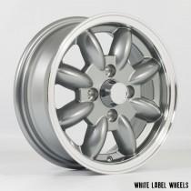 White Label JB 13x5.0 4x101.6 ET20 Gunmetal Grey with Polished Lip