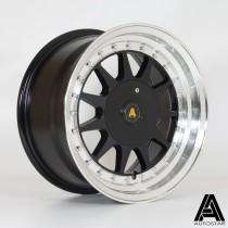 AutoStar Raider 15x7.5 4x108 ET20 Gloss Black with Polished Lip - Set of 4