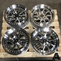 AutoStar Vader 17x8 4x100 ET35 Silver with Machined Face and Polished Lip - Set of 4