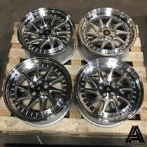 AutoStar Vader 17x8 5x100 ET30 Silver with Machined Face and Polished Lip - Set of 4