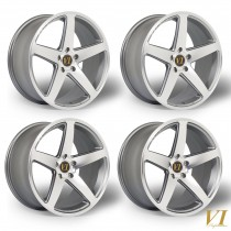6Performance CVO 19x9.0 ET40 19x10.5 ET42 5x120 Gunmetal with a Polished Face - STAGGERED SET OF 4