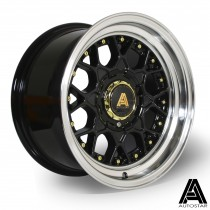 AutoStar Sprint 15x8.0 4x100 ET10 Black with polished lip  - Set of 4