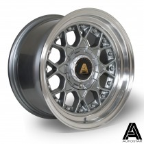 AutoStar Sprint 15x8.0 4x108 ET10 Gunmetal with polished lip  - Set of 4