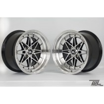 White Label Icon 15x8.0 ET10 and 15x9.0 ET10 4x100 Black with Polished Lip - Staggered Set of 4