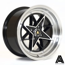 AutoStar STR 15x8 ET10 4x100 Black with Polished Face and Lip - Set of 4