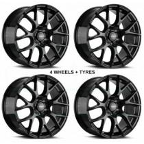 White Label VS Alloys 18x8 5x120 ET35 in Gloss Black - Set of 4 including Aptany Tyres 225/40R18