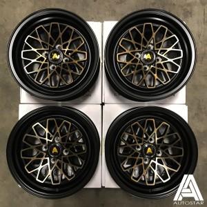 AutoStar Geo 15x8.0 4x100 ET25 Black with Bronze Face - Set of 4